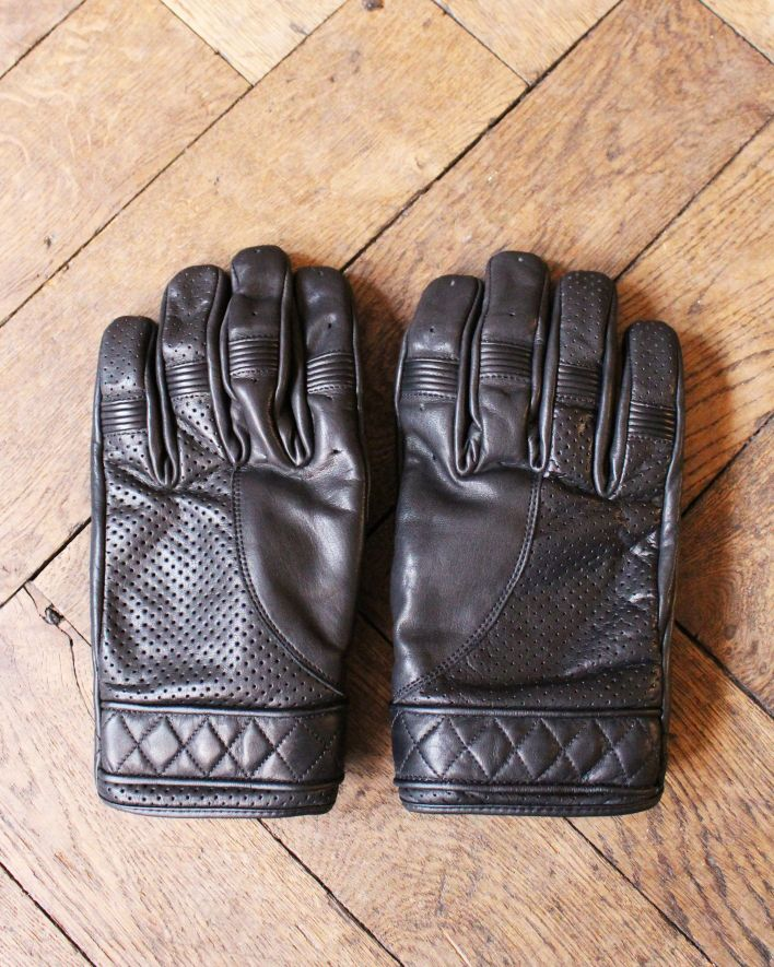 Goldtop England BOBBER Motorcycle Gloves waxed black_1