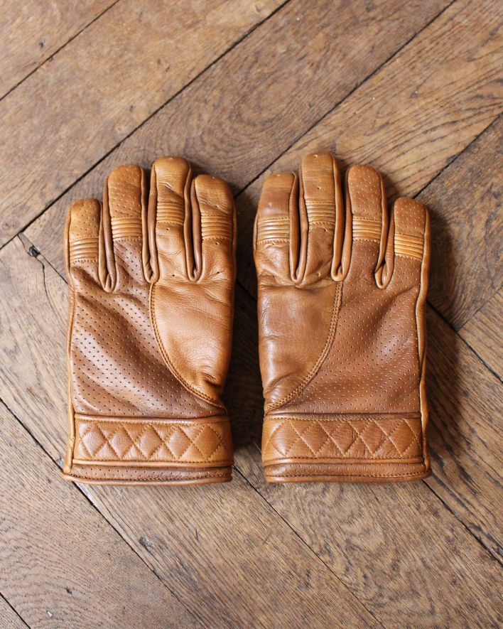Goldtop England BOBBER Motorcycle Gloves waxed brown_1