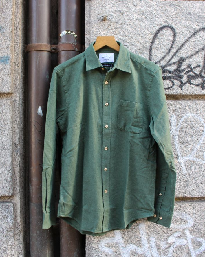 Portuguese Flannel Teca Flannel Shirt moss green_1
