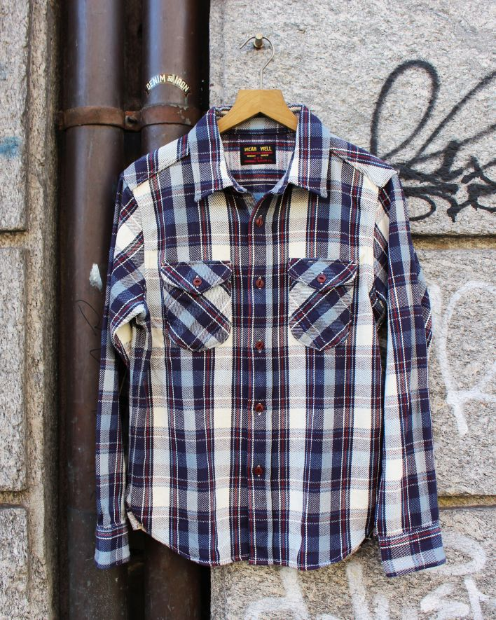 UES Heavy Flannel Shirt navy_1