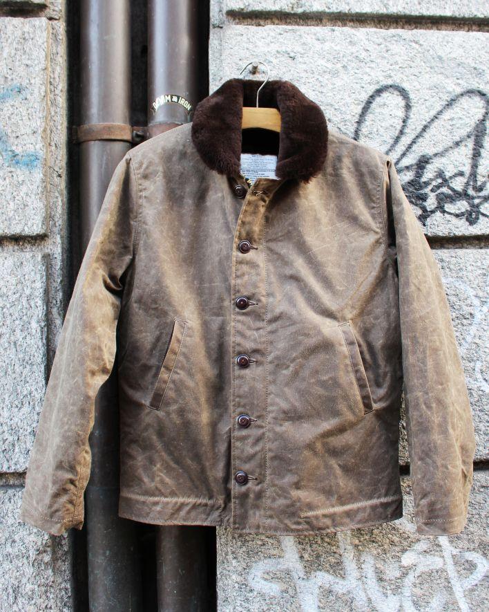 Dehen N-1 Deck Jacket Waxed Cotton dark tan brown_1