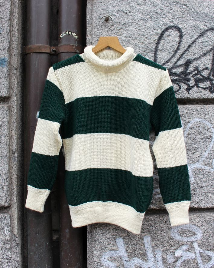 Heimat Rugby Stripe Mini Roll Neck tannengruen seashell_1