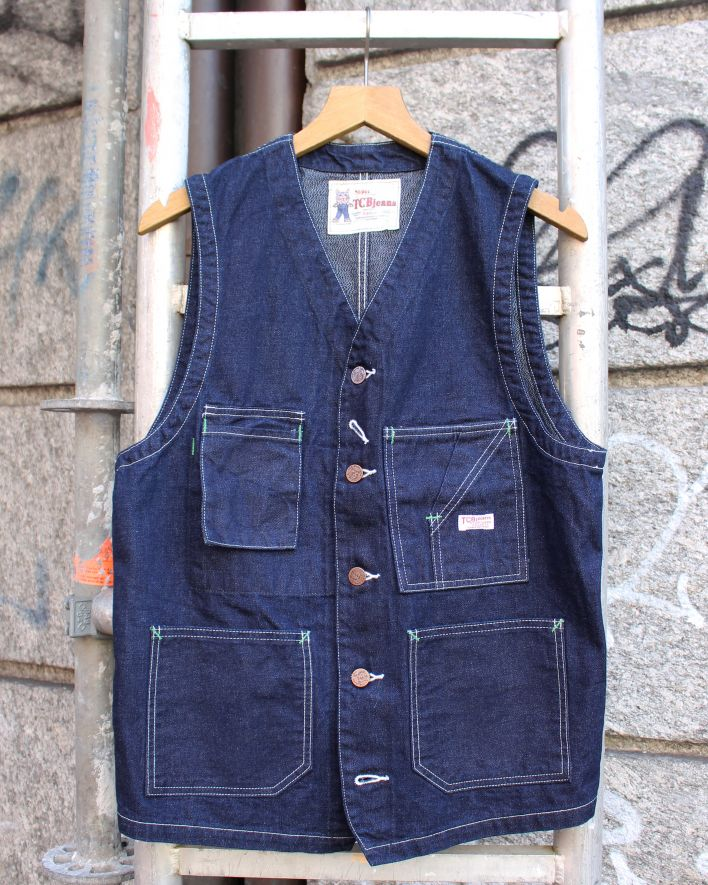 TBC TABBYS Vest Mottled Denim 10 oz. one wash_1