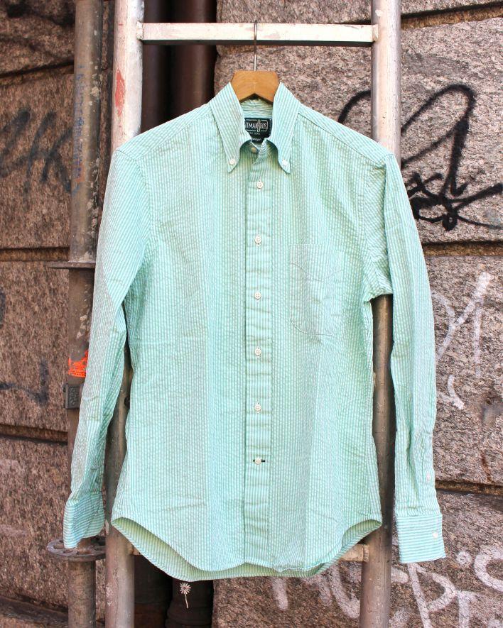 Gitman Vintage SEERSUCKER Shirt green tonal_1