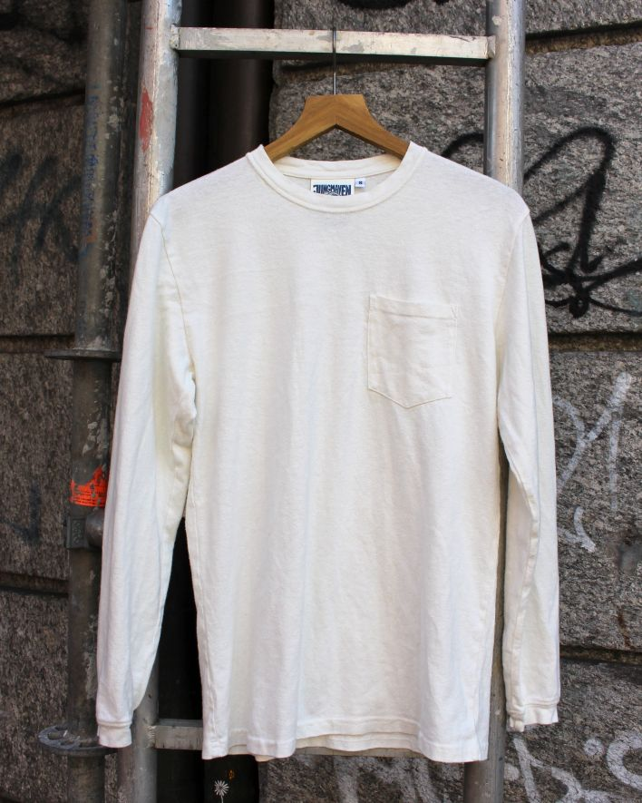 Jungmaven BAJA LONG SLEEVE POCKET Tee washed white_1