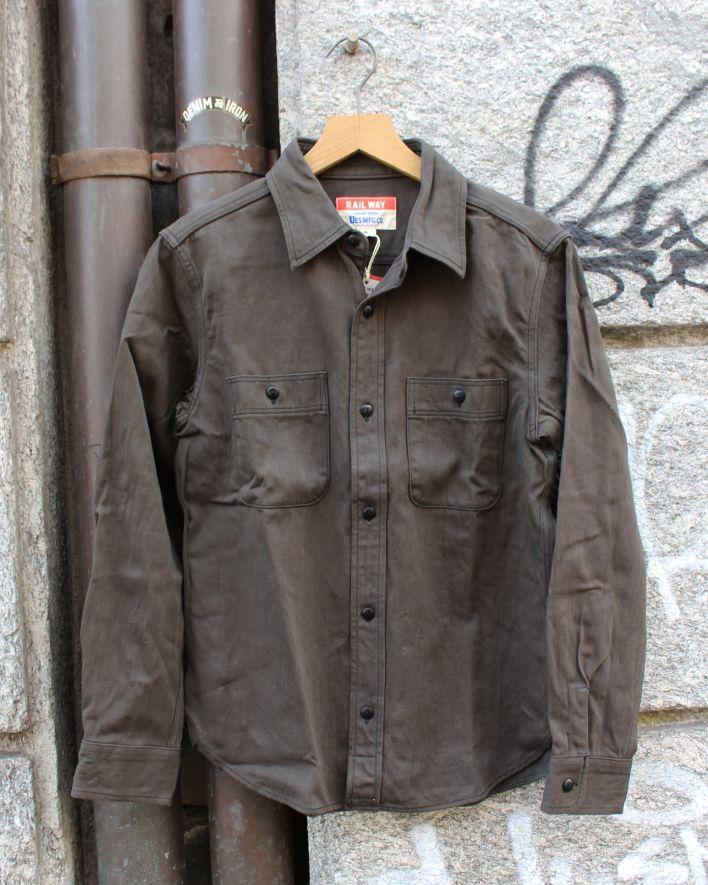UES Satin Work Shirt brown black_1