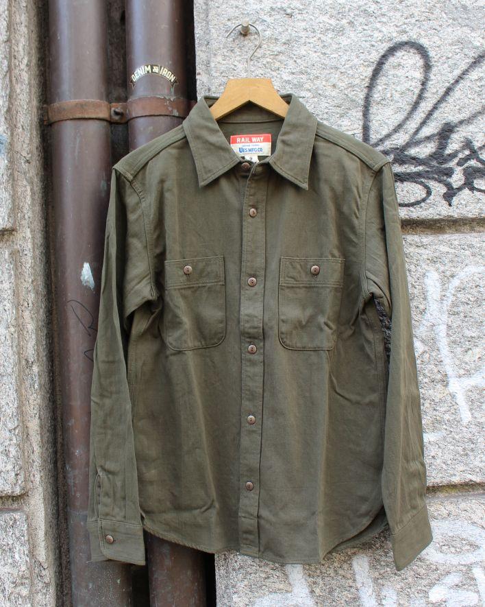 UES Satin Work Shirt olive_1