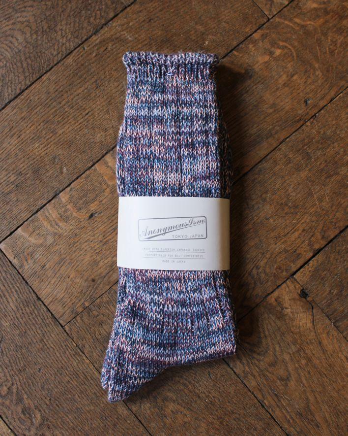 Anonymous 5 COLOR MIX CREW Socks Cotton indigo_1