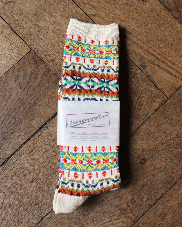 Anonymous FAIRISLE CREW Socks Cotton oatmeal_1