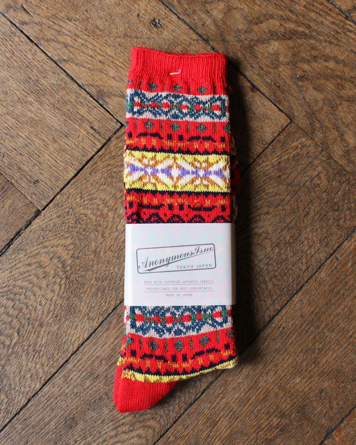 Anonymous FAIRISLE CREW Socks Cotton red melange_1