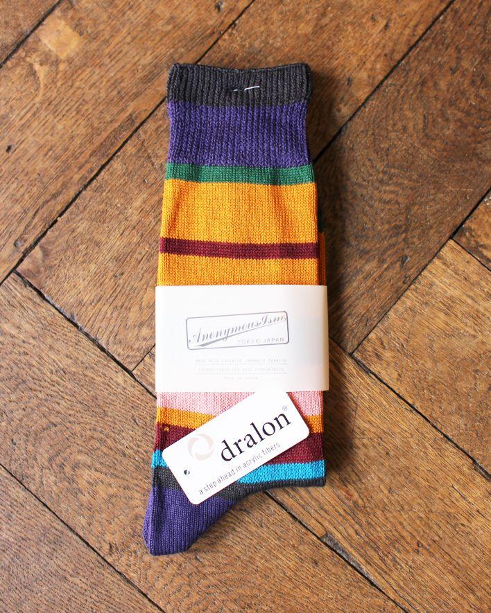 Anonymous MULTI STRIPES CREW Socks Cotton d.violet_1