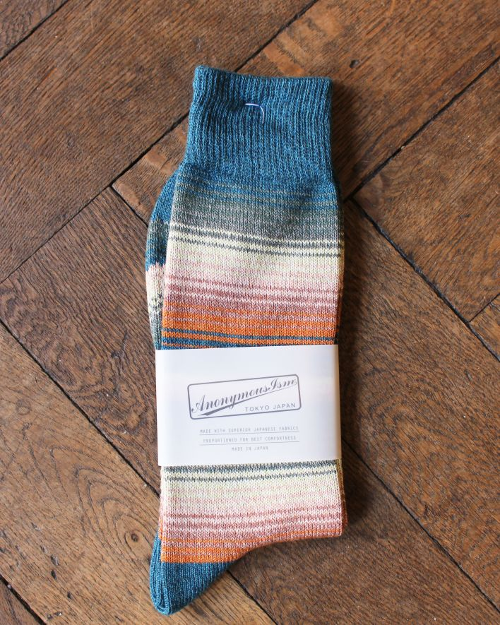 Anonymous SARAPE STRIPES CREW Socks Cotton green_1