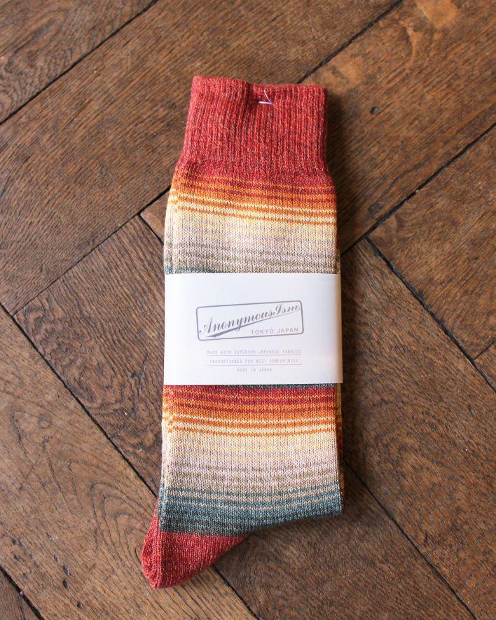 Anonymous SARAPE STRIPES CREW Socks Cotton red_1