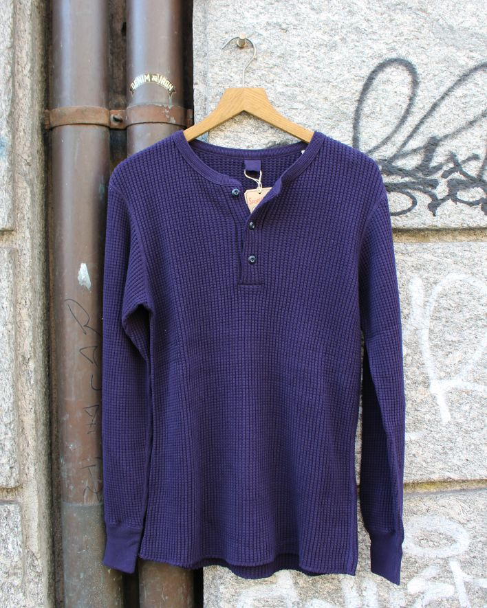 UES BIG WAFFLE HENLEY NECK Shirt indigo_1