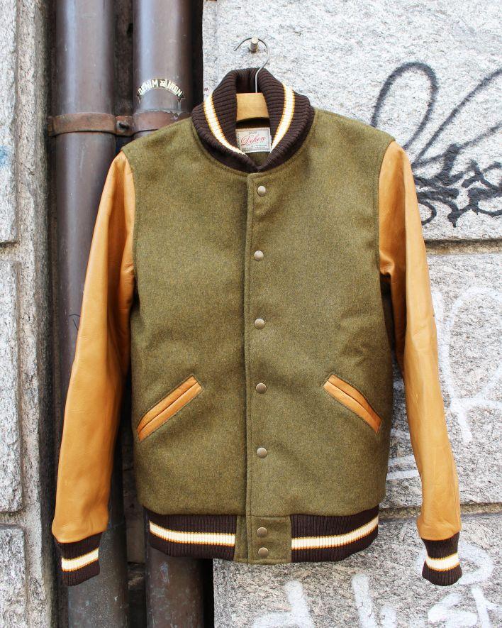 Dehen VARSITY Jacket olive mix rust_1